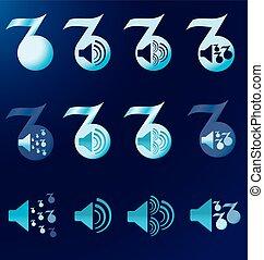 set blue notes speakers dark background