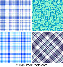 Set blue seamless patterns