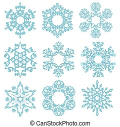 Set blue snowflakes isolated on a white background