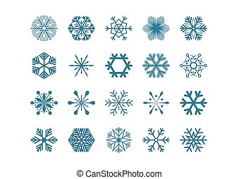 Set blue snowflakes vector illustration icons isolated on white background.