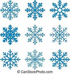 Set blue Winter Snowflake