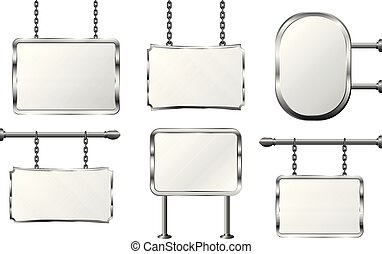 set board in a metal frame hanging on chains, silver signboard, isolated vector illustration