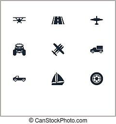 set, boat., straat, eenvoudig, 4x4, vliegtuig, vervoeren, jeep, illustratie, ramjet, synonyms, vector, icons., anderen, communie