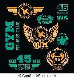 Set bodybuilding badges, stickers isolated on black.