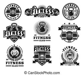 Set bodybuilding badges, stickers isolated on white.