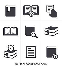 set, boek, ontwerp, vector, iconen