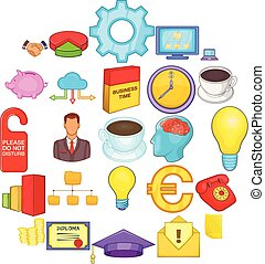 set, boekhouding, stijl, spotprent, iconen