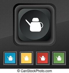set, bollitore, simbolo., struttura, colorito, bottoni, vettore, nero, elegante, cinque, icona, tuo, design.