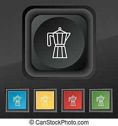 set, bollitore, simbolo., struttura, colorito, bottoni, vettore, nero, teiera, elegante, trendy, cinque, icona, tuo, design.