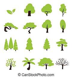 set, bomen, pictogram