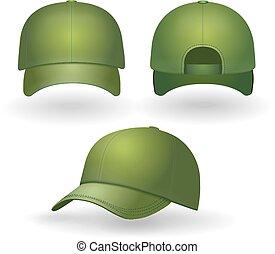 set., boné, isolado, realístico, vetorial, basebol, frente, verde, vista lateral
