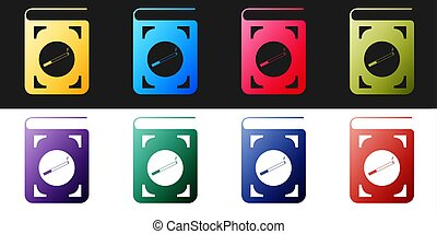 Set Book with cigarette icon isolated on black and white background.  Vector