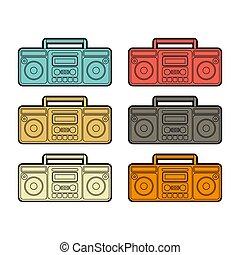 set., boombox, vettore, cassetta, retro, registratore, tape.