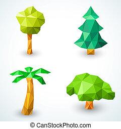 set, boompje, illustratie, polygonal, vector, icons., origami