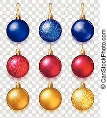 set, boompje, kerstmis, speelbal, realistisch