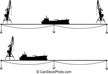 set border with crane and ship