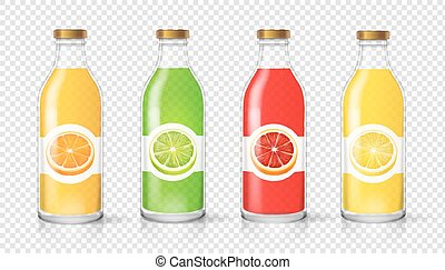 set, bottiglia, vetro, agrume, etichetta, imballaggio, succo, vettore, sagoma