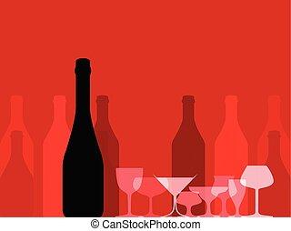 set, bottiglie, alcool, distillato, isolato, mano, vettore, inchiostro, disegnato, black., style., bevanda