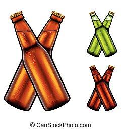 set, bottiglie, due, realistico, birra, vettore, clinking, 3d