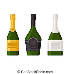 set, bottiglie, fondo., vettore, bianco, champagne