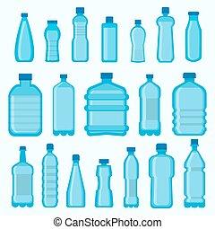 set, bottiglie, icone, isolato, plastica, vettore