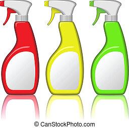 set, bottiglie, isolato, fondo., spruzzo, vettore, vuoto, bianco