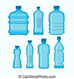 set, bottiglie, isolato, plastica, acqua, vettore, bianco