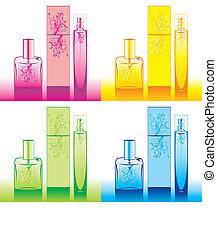 set, bottiglie, isolato, profumo