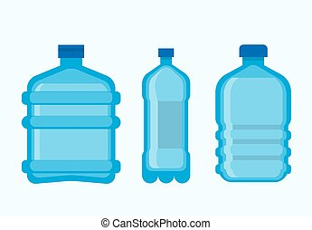 set, bottiglie, minerale, plastica, acqua, pulito, fresco