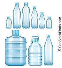 set, bottiglie, plastica, acqua, realistico, vettore