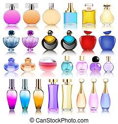set, bottiglie, riflessione, illustrazione, profumo, fondo, bianco