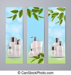 set, bottiglie, vetro, eco, cosmetico, realistico, verde