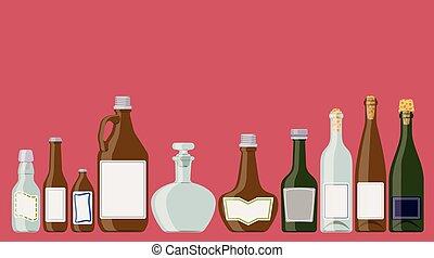 set, bottiglie