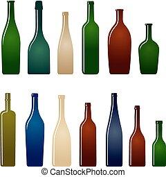 set, bottiglie, vino