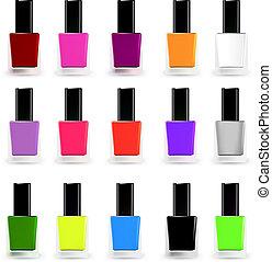 Set bottles of nail polish in various colors. Vector