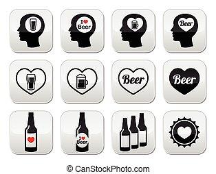 set, bottoni, birra, vettore, uomo, amare