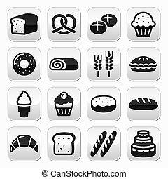 set, -, bottoni, pasta, panetteria, bread