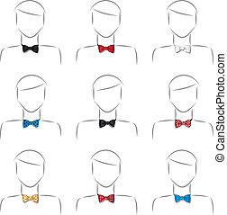 Set bow tie - Set of nine different male bow tie