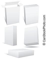 set, boxex., illustrazione, vendita dettaglio