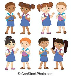 Set boy and girl with backpacks african pupil stay cartoon...