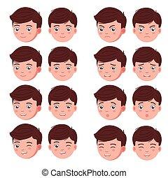 Set boy emotion faces. Vector illustration kid portrait icon...