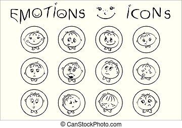 Set boy faces, emotions icons,