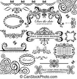 set., bröllop, design.