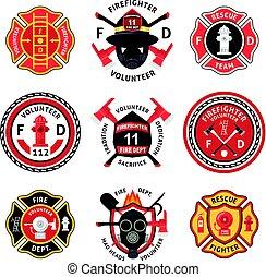set, brandweerman, etiket