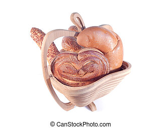 set bread in a wooden stand