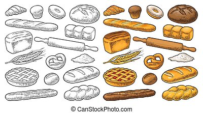 Set bread. Isolated on the white background. Vector color and black hand drawn vintage engraving illustration for poster, label and menu bakery shop.