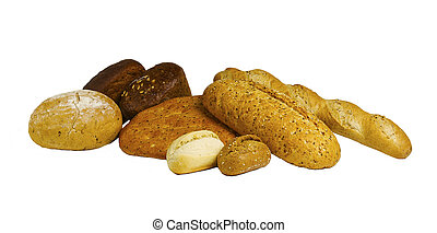 set breads from different flour isolated on a white