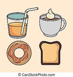 set breakfast donut bread juice and coffee