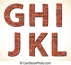 Set brick alphabet. Vector illustration - Set vector brick...