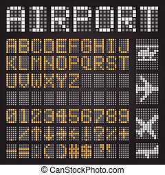 set, brieven, symbolen, luchthaven, tijdschema, mechanisch